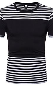 Муж. Футболка Рубашечный воротник Классический Полоски Белый L / С короткими рукавами