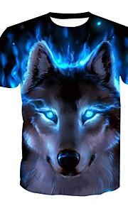 男性用 スポーツ プラスサイズ ブラウス ストリートファッション / パンク&ゴシック ラウンドネック 動物 オオカミ / 半袖
