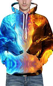 男性用 ベーシック / 誇張された プラスサイズ ルーズ パンツ - 3D / 動物 オオカミ, プリント ブルー / フード付き / 長袖 / 秋