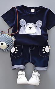 Toddler Chlapecké Aktivní Denní / Škola Černá a šedá Tisk Tisk Krátký rukáv Krátké Bavlna / Spandex Sady oblečení Bílá