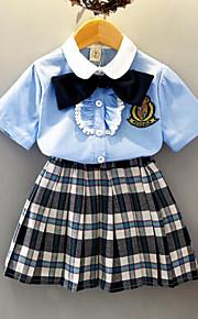 Děti Dívčí Aktivní / Šik ven Denní / Škola Pléd Mašle Krátký rukáv Standardní Umělé hedvábí Sady oblečení Vodní modrá