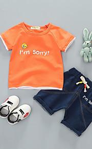 Dítě Unisex Základní Denní Jednobarevné Krátký rukáv Standardní Bavlna Sady oblečení Bílá / Toddler