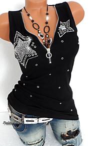 여성용 솔리드 딥 V 슬림 플러스 사이즈 스팽글 - 티셔츠, 펑크 & 고딕 블랙 XXXL / 여름