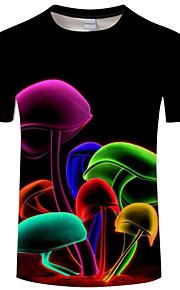 男性用 クラブ - プリント プラスサイズ Tシャツ ベーシック / 誇張された ラウンドネック 虹色 / 動物 / 半袖 / 夏