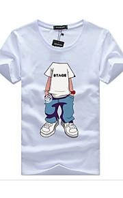 男性用 スポーツ プラスサイズ Tシャツ ストリートファッション ラウンドネック ポートレート コットン / 半袖