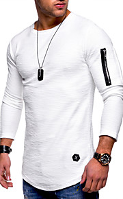 Herrn Solide - Grundlegend / Militär Übergrössen Baumwolle T-shirt, Rundhalsausschnitt Schwarz XL / Langarm