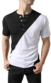 Hombre Chic de Calle / Punk & Gótico Camiseta, Escote Redondo Bloques Negro L / Manga Corta