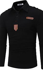 Pánské - Jednobarevné Základní Polo Košilový límec Bílá L / Dlouhý rukáv