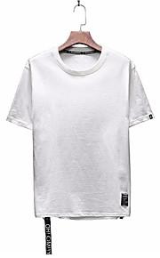 男性用 Tシャツ ベーシック ラウンドネック レタード / 半袖