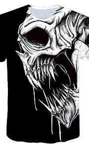 男性用 プラスサイズ Tシャツ 活発的 ラウンドネック スカル / 半袖
