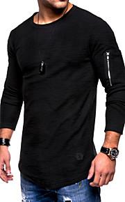 Hombre Básico / Chic de Calle Deportes Tallas Grandes Algodón Camiseta, Escote Redondo Delgado Un Color Negro XL / Manga Larga