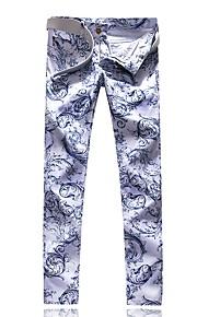 Erkek Sokak Şıklığı Pamuklu İnce Chinos Pantolon - Geometrik Desen Beyaz / Bahar / Sonbahar