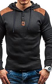 男性用 誕生日 カラーブロック 長袖 スリム レギュラー プルオーバー, フード付き ブラック / ダックグレー XL / XXL / XXXL