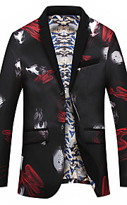 Hombre Diario Primavera & Otoño Tallas Grandes Regular Blazer, Bloques Solapa de Pico Manga Larga Poliéster Negro / Rojo XXXXXL / XXXXXXL / 8XL / Informal de negocios