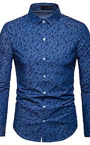Муж. Офис С принтом Рубашка Тонкие Деловые / Классический Контрастных цветов Синий L / Длинный рукав