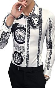 Heren Vintage Overhemd Werk Print / dier Klassieke boord Slank Wit XXL / Lange mouw / Herfst / Winter