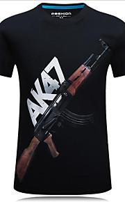 Hombre Chic de Calle Tallas Grandes Estampado Camiseta, Escote Redondo Letra Negro XXXXL / Manga Corta / Verano