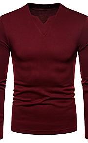 Hombre Básico Camiseta, Escote en Pico Un Color Negro L / Manga Larga