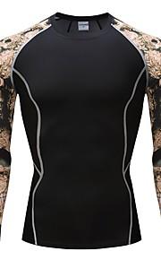 男性用 Tシャツ ベーシック ラウンドネック 動物 コットン / 長袖