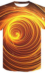 Муж. Для клуба С принтом Большие размеры - Футболка Круглый вырез Уличный стиль / Панк & Готика Контрастных цветов / 3D Желтый XXL / С короткими рукавами / Лето