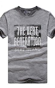 Hombre Básico Estampado - Algodón Camiseta, Escote Redondo Delgado Letra Verde Trébol L / Manga Corta / Verano