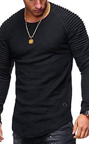 Hombre Básico Camiseta, Escote Redondo Un Color Gris XXXXL / Manga Larga