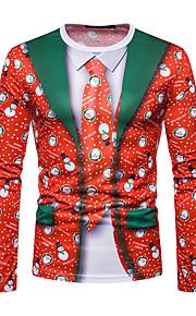 男性用 クリスマス Tシャツ ラウンドネック 幾何学模様 / 長袖