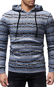 男性用 活発的 / ベーシック パンツ - ストライプ ブルー / フード付き / 長袖 / 秋 / 冬