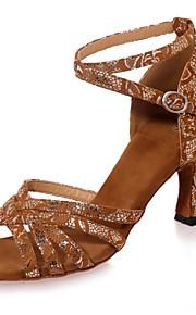 여성용 라틴 슈즈 스웨이드 샌달 버클 플레어 힐 댄스 신발 블랙 / 브라운 / 블랙과 골드