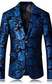 Hombre Diario Primavera / Otoño Tallas Grandes Regular Blazer, Cuadrícula Cuello Camisero Manga Larga Algodón / Poliéster Azul Piscina 54 / 56 / 58