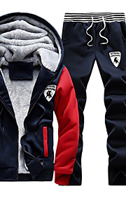 Hombre Activo Tallas Grandes Pantalones - Un Color Rojo / Con Capucha / Manga Larga