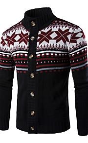 Ανδρικά Χριστούγεννα / Καθημερινά Βασικό Γεωμετρικό / Συνδυασμός Χρωμάτων Μακρυμάνικο Κανονικό Πουλόβερ Μαύρο / Σκούρο γκρι / Ανοιχτό Γκρι L / XL / XXL