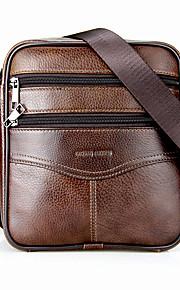 laoshizi pánské tašky cowhide crossbody taška zip černá / káva