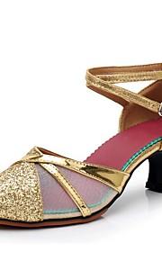 여성용 모던 슈즈 Synthetics 힐 장식용 금속조각 큐반 힐 주문제작 가능 댄스 신발 골드 / 블랙 / 실버