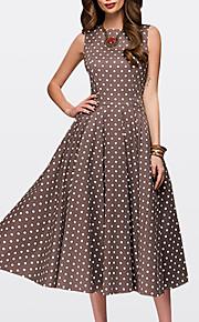 여성용 빈티지 1950년대 A 라인 드레스 - 도트무늬 미디 / 데이트