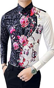 Hombre Vintage Tallas Grandes Algodón Camisa Floral Arco Iris XL / Manga Larga