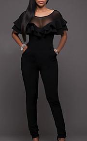Dámské Větší velikosti Denní Základní Černá Kombinéza, Jednobarevné M L XL Vysoký pas Krátký rukáv