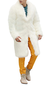 Men's Weekend Winter Long Coat, Solid Colored Shawl Lapel Long Sleeve Faux Fur White / Black / Brown XL / XXL / XXXL / Loose