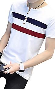 Муж. Большие размеры - Футболка Хлопок, Круглый вырез Полоски Белый XL / С короткими рукавами