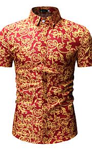 男性用 プリント シャツ ベーシック / ストリートファッション カラーブロック
