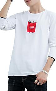 Hombre Activo / Básico Algodón Camiseta, Escote Redondo Letra Blanco XXL / Manga Larga