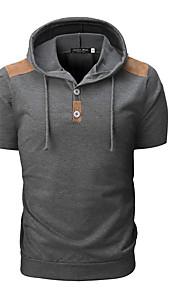男性用 半袖 パーカー - ソリッド フード付き
