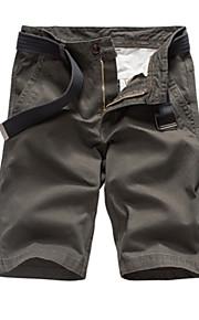 男性用 ベーシック アジア人サイズ コットン スリム ショーツ パンツ - ソリッド ハイウエスト ブラウン