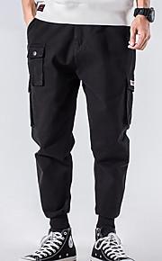 男性用 ベーシック プラスサイズ チノパン / カーゴパンツ パンツ - ソリッド ブラック