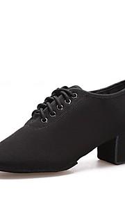 여성용 재즈 슈즈 캔버스 힐 두꺼운 발 뒤꿈치 주문제작 가능 댄스 신발 블랙