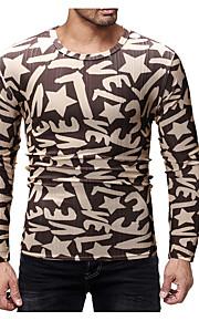 Hombre Chic de Calle Camiseta, Escote Redondo Letra Marrón L / Manga Larga