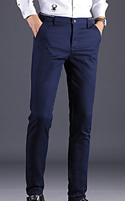 男性用 ベーシック コットン スーツ パンツ - ソリッド ブラック