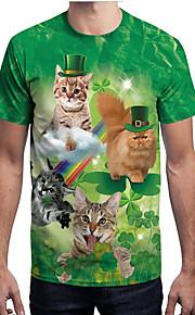 男性用 プリント Tシャツ ストリートファッション 動物 熱帯の葉