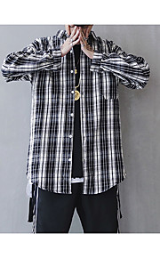 メンズスリムシャツ - 縞模様のスタンディングカラー