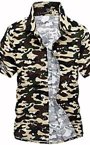男性用 プラスサイズ シャツ カモフラージュ / 半袖